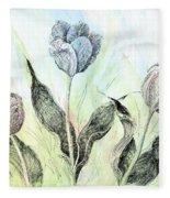 Tulips In Ink Fleece Blanket