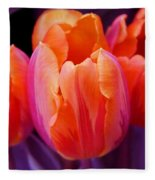 Tulips In Orange And Purple Fleece Blanket