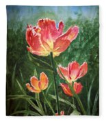 Tulips On Fire Fleece Blanket