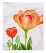 Tulips Orange And Red Fleece Blanket