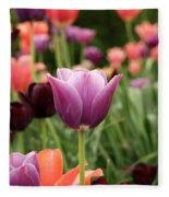 Tulips Welcome Spring Fleece Blanket
