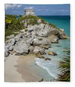 Tulum - Mayan Temple Fleece Blanket