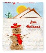 Arizona Tumbleweed Snowman Fleece Blanket