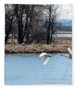 Tundra Swan Flight Fleece Blanket