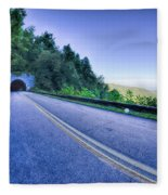 Tunnel Through Mountains On Blue Ridge Parkway In The Morning Fleece Blanket