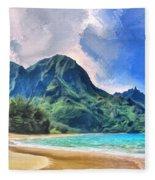 Tunnels Beach Kauai Fleece Blanket