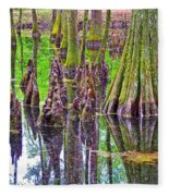 Tupelo/cypress Swamp Reflection At Mile 122 Of Natchez Trace Parkway-mississippi Fleece Blanket