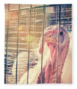Turkey In The Cage Fleece Blanket