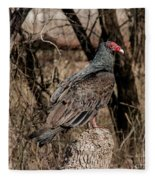 Turkey Vulture Portrait Fleece Blanket