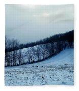Turkeys In A Winter Field Fleece Blanket