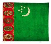 Turkmenistan Flag Vintage Distressed Finish Fleece Blanket
