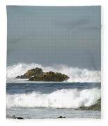 Turquoise Waves Monterey Bay Coastline Fleece Blanket