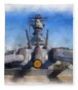 Turrets 1 And 2 Uss Iowa Battleship Photo Art 01 Fleece Blanket