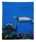 Turtle Flying Underwater Fleece Blanket