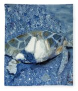 Turtle On Black Sand Beach Fleece Blanket