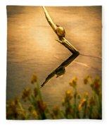Turtle On Golden Pond Fleece Blanket