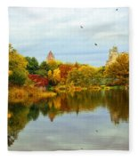 Turtle Pond 2 - Central Park - Nyc Fleece Blanket