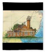 Turtle Rock Lighthouse Pa Chart Map Art  Fleece Blanket