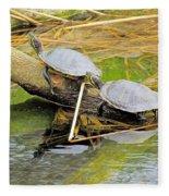 Turtles At The National Zoo Fleece Blanket