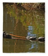 Turtles On A Log Fleece Blanket