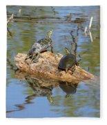 Turtles On Stump Fleece Blanket