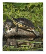 Turtles Sunning Fleece Blanket