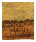 Landscape And Winding Road With Cypress Trees Fleece Blanket