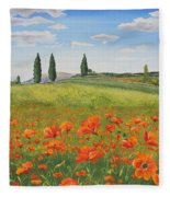 Tuscan Poppies-b Fleece Blanket