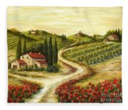 Tuscan Road With Poppies Fleece Blanket