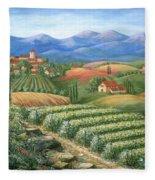Tuscan Vineyard And Village  Fleece Blanket