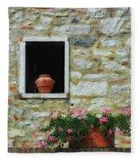 Tuscan Window And Flower Pot Fleece Blanket