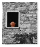 Tuscan Window And Pot Bw And Color Fleece Blanket