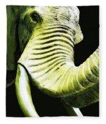 Tusk 1 - Dramatic Elephant Head Shot Art Fleece Blanket