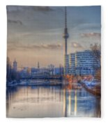 Tv Tower Sunset Fleece Blanket