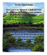 Twenty-third Psalm And Twin Ponds Fleece Blanket