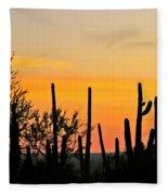 Twilight After Sunset Sonoran Desert Fleece Blanket