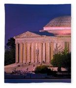 Twilight At The Jefferson Memorial Fleece Blanket