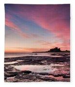 Twilight On Harkness Rocks Bamburgh Fleece Blanket