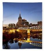Twilight Over Nashville Tennessee Fleece Blanket