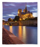 Twilight Over Notre Dame Fleece Blanket