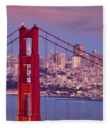 Twilight Over San Francisco Fleece Blanket
