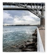 Twin Bridges Over Blue Water Fleece Blanket