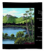 Twin Ponds And 23 Psalm On Black Horizontal Fleece Blanket
