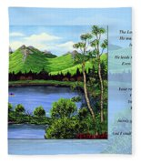 Twin Ponds And 23 Psalm On Blue Horizontal Fleece Blanket