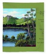 Twin Ponds And 23 Psalm On Green Horizontal Fleece Blanket