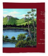 Twin Ponds And 23 Psalm On Red Horizontal  Fleece Blanket