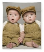 Two Babies In Matching Hat And Overalls Fleece Blanket