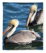 Two Beautiful Pelicans Fleece Blanket