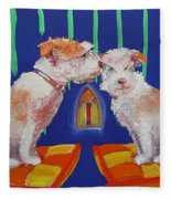 Two Border Terriers Together Fleece Blanket
