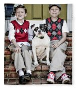 Two Boys And Their Dog Fleece Blanket